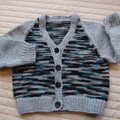 SIZE 3 yrs (+): Hand knitted cardigan : acrylic, boy, grey & multi colour
