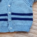 Size 1 cardigan in blues by CuddleCorner: OOAK, washable,