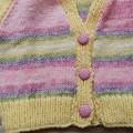 Size 6- 12 mths : cardigan, multi colour by CuddleCorner: OOAK, washable,