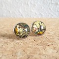 Round lampwork glass dome Rainbow galaxy gold glitter Cabochon stud earrings , 6