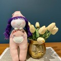 Purple Girl Hand sewn Sock Dolls - Anniversary, Baby Shower