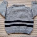 SIZE 3-4  :Hand knitted cardigan, warm, washable, fashionable, boy, black & grey