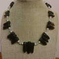 SMOKEY QUARTZ MOONSTONE AND FRESHWATER PEARL NECKLACE