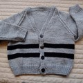 SIZE 3-4  :Hand knitted cardigan, warm, washable, fashionable, boy, black & grey
