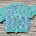 Size 6-12 months: unisex cardigan in multi colour, easy care, washable