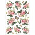 Rice Paper - Decoupage -  1 x A4 Size Sheet - Roses & Butterflies