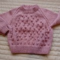 3-9mths - Hand knitted jump : girl, musk, machine washable
