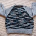 SIZE 3 yrs (+): Hand knitted cardigan : acrylic, boy, grey & multi colour