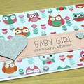 Baby Boy or Girl card - cute owls and elephants