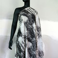 Black and white abstract print chiffon. Fabric by the metre