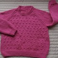 SIZE 5 - Hand knitted jumper , Pink,  by CuddleCorner