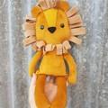 Toby the velvet lion softie, handmade toy