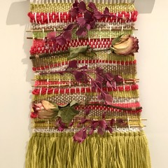 Handwoven Wall Hanging with dried  roses - 36x24cm- Boho chic