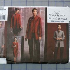 Vogue 2771 jacket, top, dress, skirt and pants pattern. Sizes 14 - 18. Uncut.