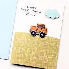 Any Age Birthday card | Personalised Custom Made | Orange Truck