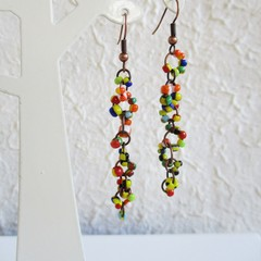 Asymmetry Artsy Boho style long Seed bead linked ring dangling earrings , Orange