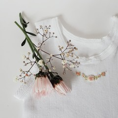 Hand-Embroidered Rosebud Wreath Singlet Baby Girl Gift Baby Shower Clothes