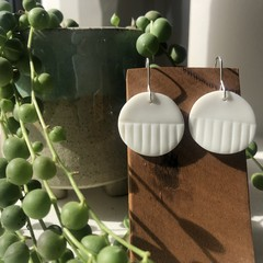 Circle and stripe porcelain earrings