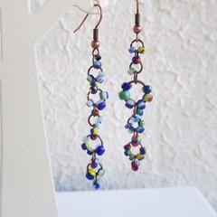 Asymmetry Boho Tribal style long Seed bead linked ring dangling earrings , Blue
