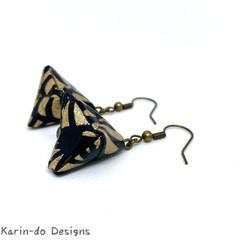 Origami Pyramid (Sankaku sui)  Drop Earrings - Black & Gold