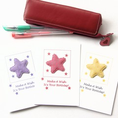 3 Birthday Card Pack For Kids, Stars Purple Red Yellow, Cards For Children Kids