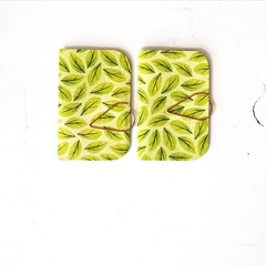 Green Mini Books {2} Spring Leaves | Mini Journals | Pocket Notebook | Paper Gif