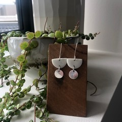 Porcelain and silver drop earrings