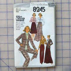 Simplicity 8245 blouse, pants, skirt and jacket pattern. Size 12. Uncut pattern