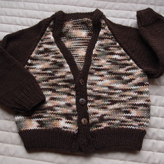 SIZE 2 years; knitted , dark brown & multi colour, boy, washable
