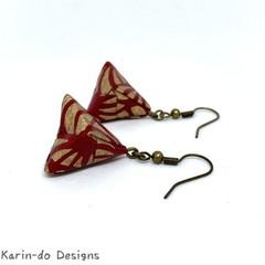 Origami Pyramid (Sankaku sui)  Drop Earrings - Red & Gold