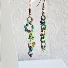 Asymmetry Hippie Boho style long Seed bead linked ring dangling earrings , Green