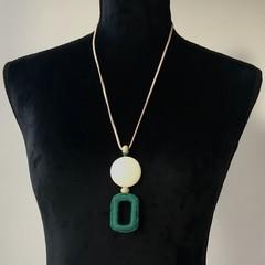 Cream & Green Crochet & Bead Necklace