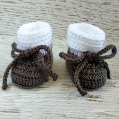 Charcoal & White Newborn Crochet Baby Booties Shoes Socks Pregnancy Baby Reveal