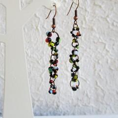 Asymmetry Modern Boho style long Seed bead linked ring dangling earrings , Black