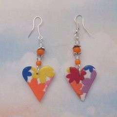 Colourful Floral Heart Earrings