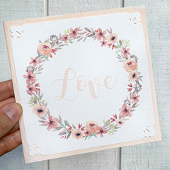 Greeting Card Floral Wreath Blush - Love Anniversary Mother's Day