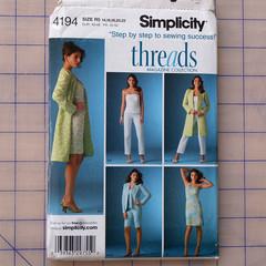Simplicity 4194 dress, top, coat, jacket, pants and shorts pattern. Size 14 - 22
