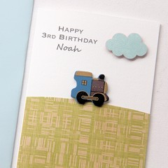 Any Age Birthday card | Personalised Custom Made | Blue Train
