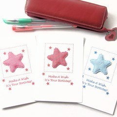 3 Birthday Card Pack For Kids, Stars Pink Red Blue, Cards For Children Kids