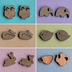 Wooden Owl, Elephant, Bird, Rabbit, Fox, Teapot & Cup