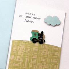 Any Age Birthday card | Personalised Custom Made | Green Train