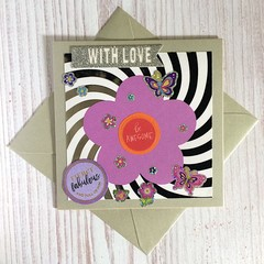 Silver Inspirational or Birthday Card with Purple Flower
