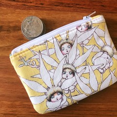 Coin purse - flannel flowers on yellow