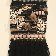 Handwoven Wall Hanging with dried  flowers - 37x23cm- Black