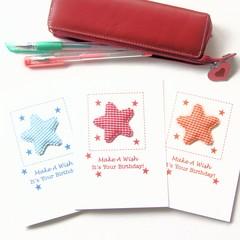 3 Birthday Card Pack For Kids, Stars Blue Red Orange, Cards For Children Kids