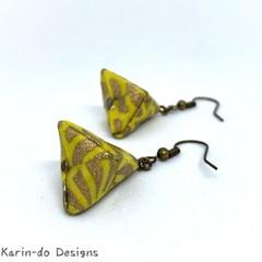 Origami Pyramid (Sankaku sui)  Drop Earrings - Yellow & Gold