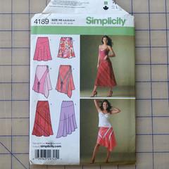 Simplicity 4189 pull on skirt pattern. Size 6 - 14. Uncut pattern