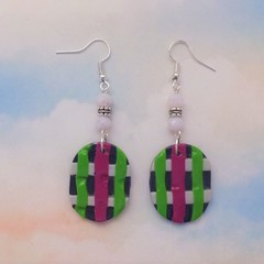 Colourful Oval Earrings Crystal & Silver Beads