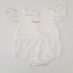 Hand-Embroidered Baby Girl Rosebud Lace Petal Sleeve Romper
