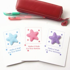 3 Birthday Card Pack For Kids, Stars Pink Blue Purple, Cards For Children Kids